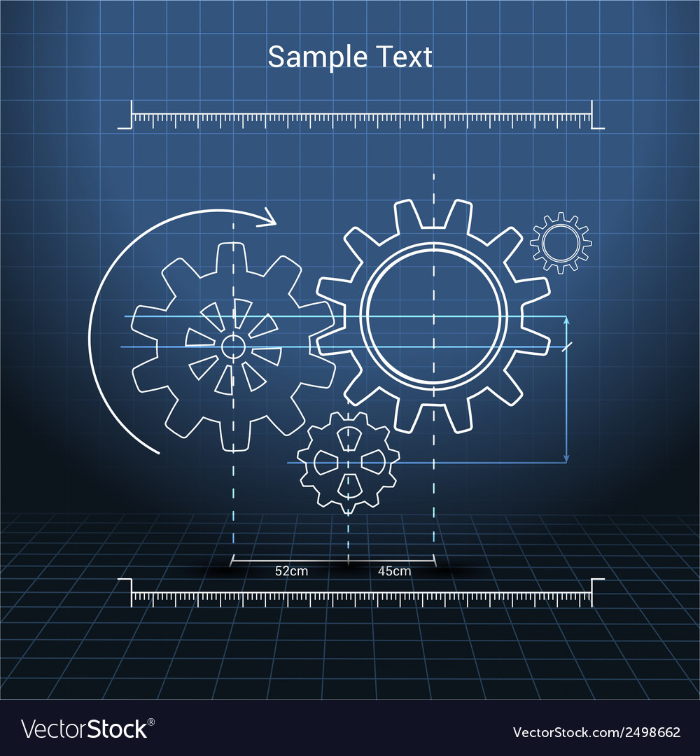 Gears technical drawing vector | Price: 1 Credit (USD $1)