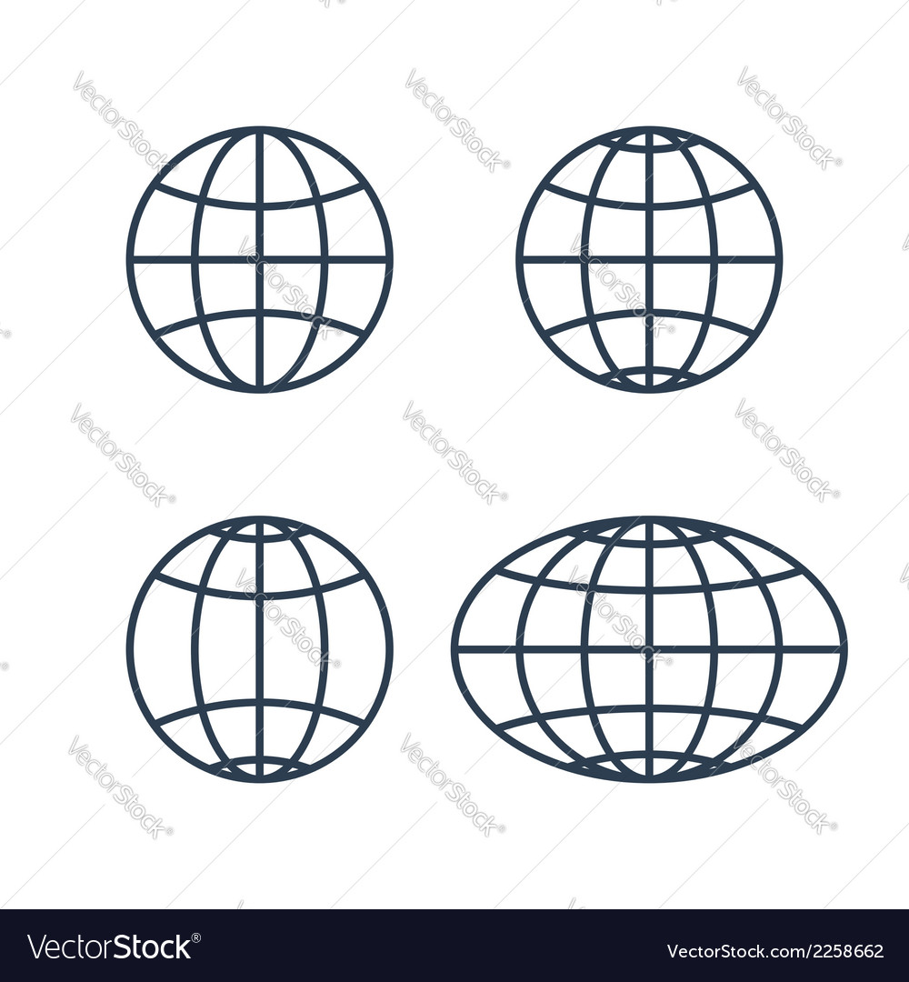Globe earth world icons vector | Price: 1 Credit (USD $1)