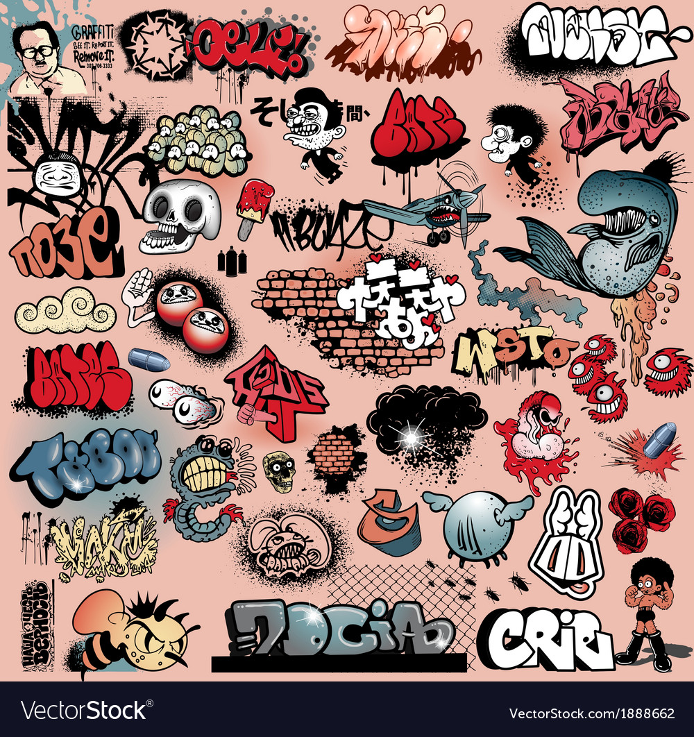 Graffiti street art objects vector | Price: 3 Credit (USD $3)