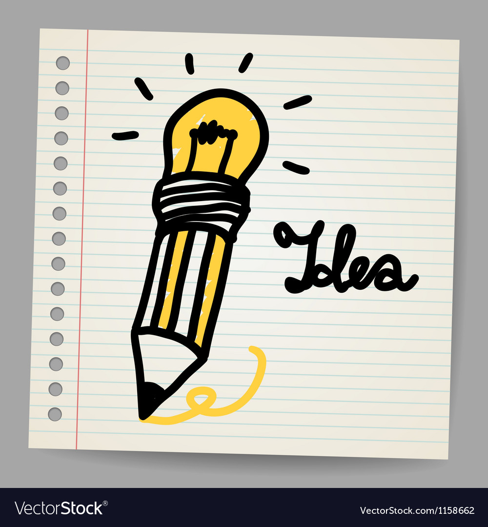 Light bulb pencil and good idea vector | Price: 1 Credit (USD $1)