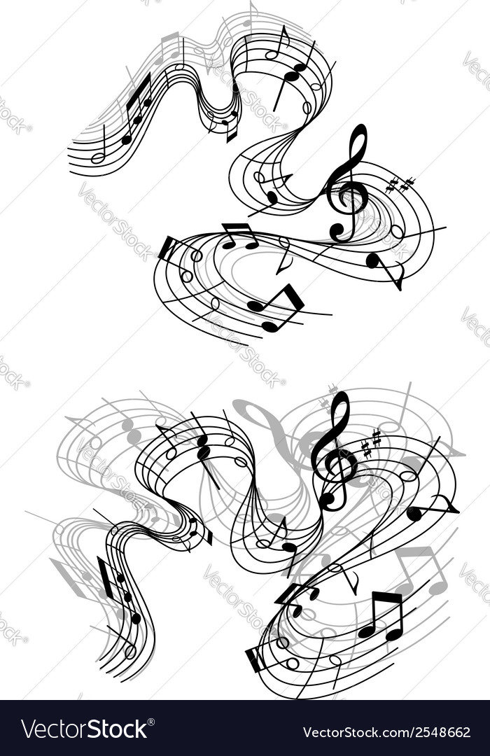 Musical compositions with notes vector | Price: 1 Credit (USD $1)