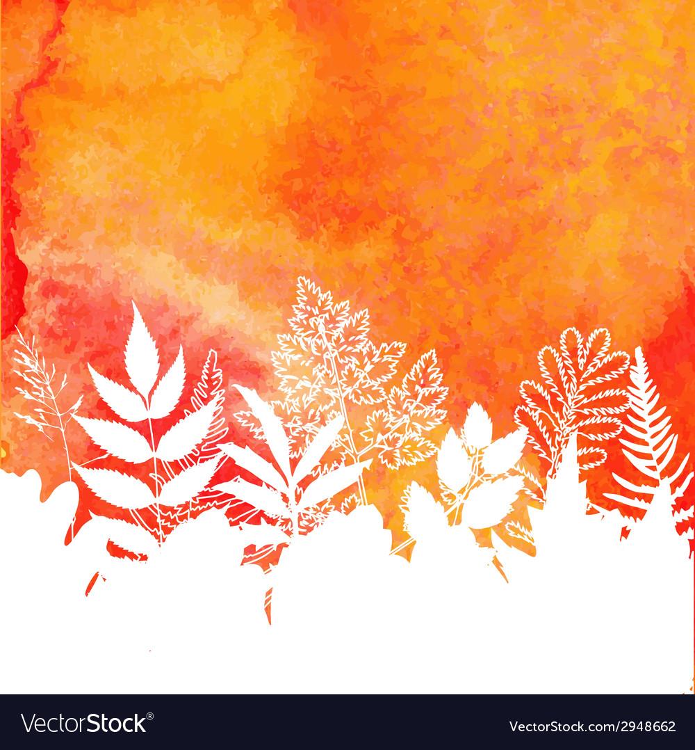 Orange watercolor painted autumn foliage vector | Price: 1 Credit (USD $1)