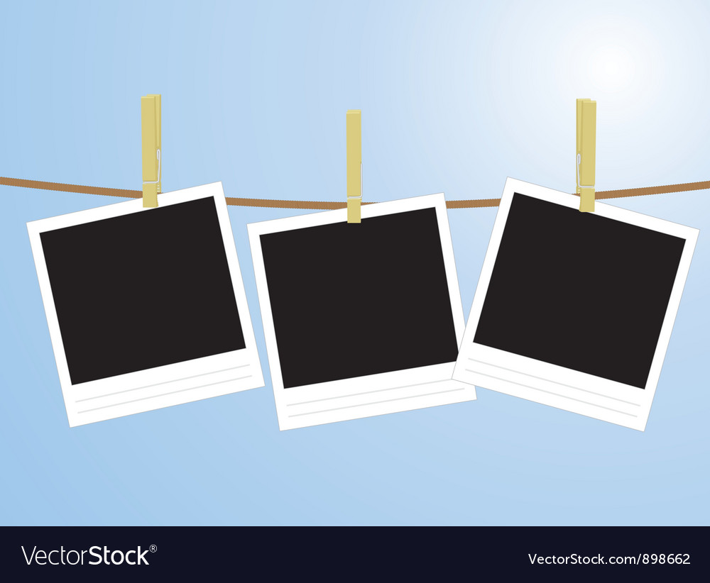 Photos hanging on rope vector | Price: 1 Credit (USD $1)
