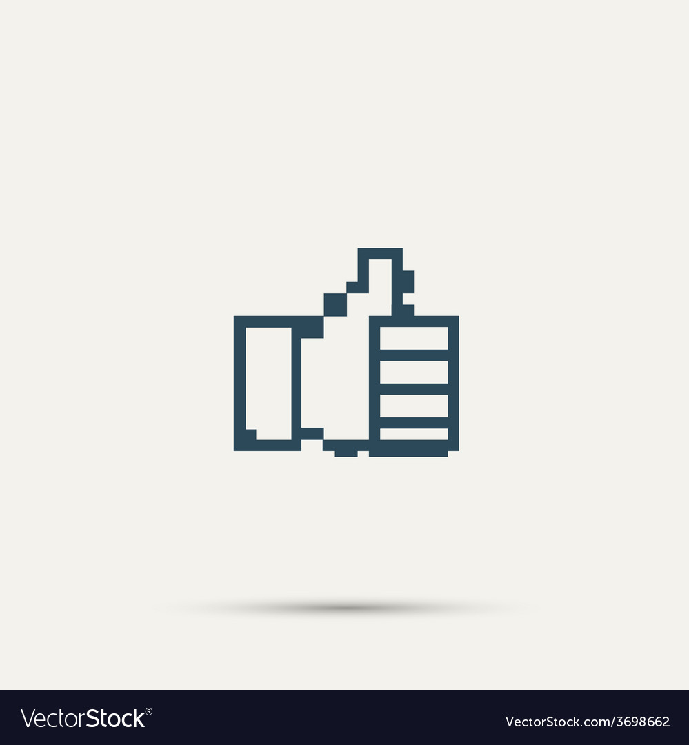 Pixel icon raised a finger design vector | Price: 1 Credit (USD $1)