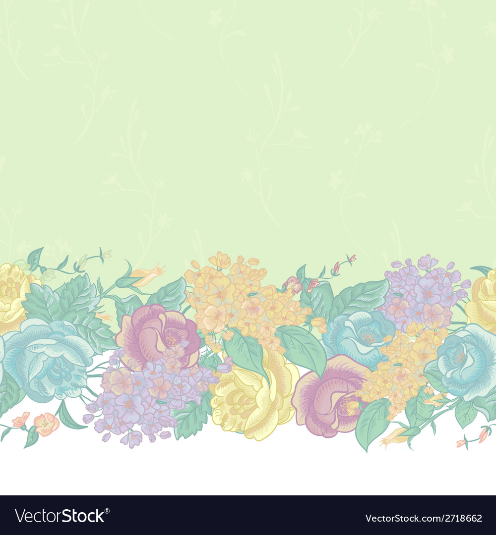 Seamless floral border with wildflowers vector | Price: 1 Credit (USD $1)
