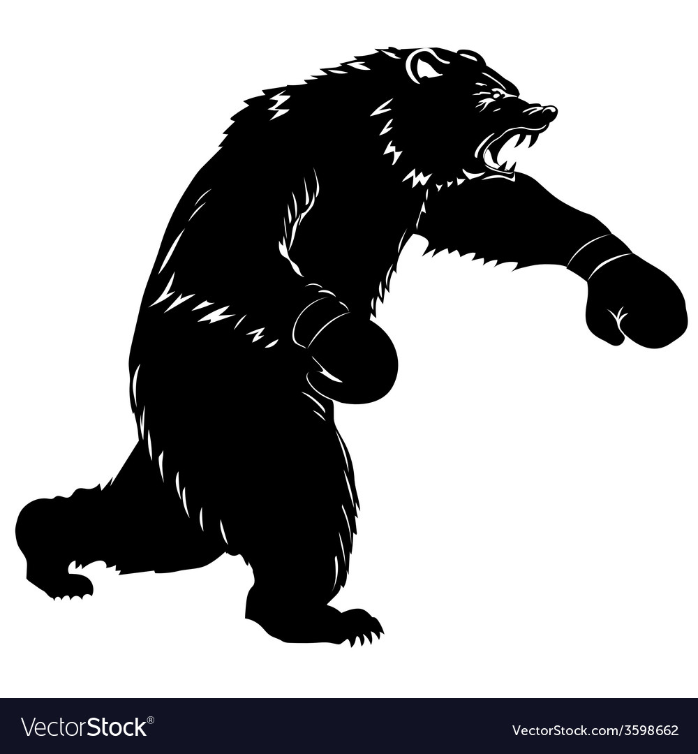 Silhouette bear boxer vector | Price: 1 Credit (USD $1)