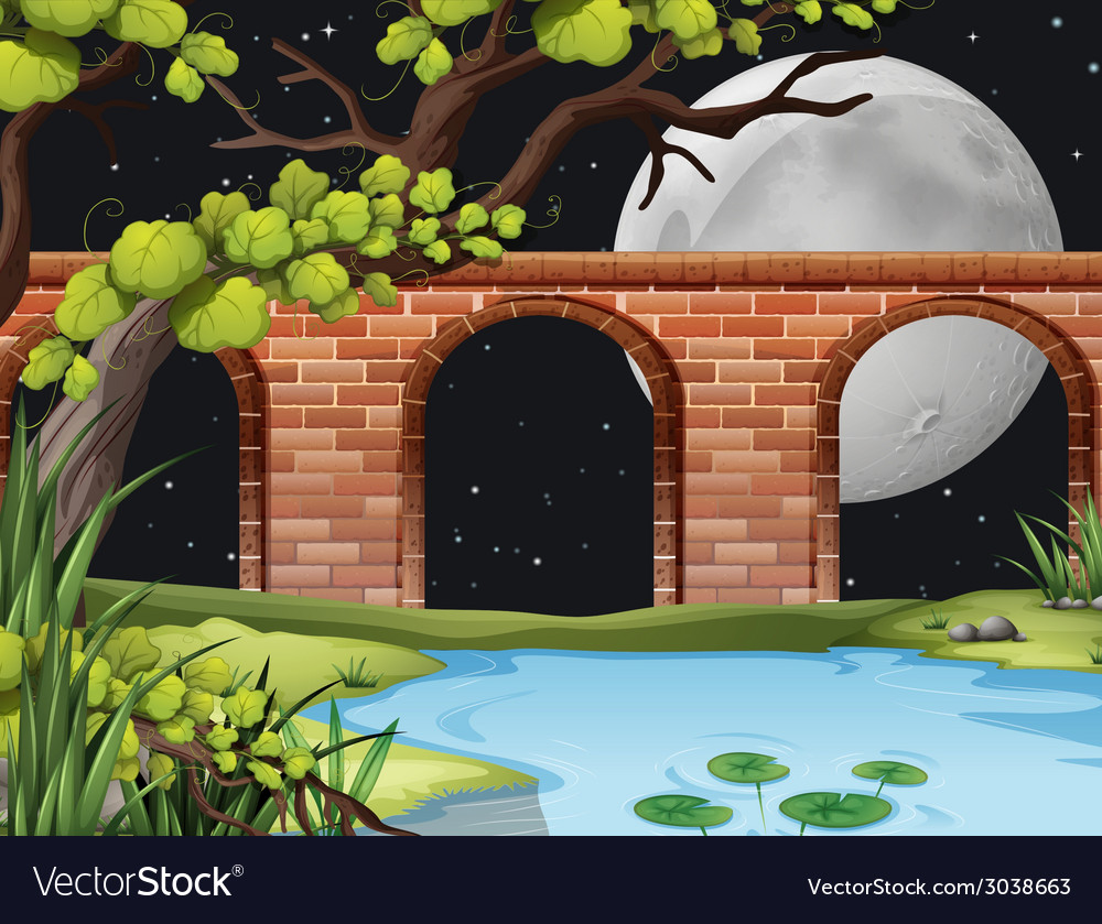 A bright full moon at the forest vector | Price: 3 Credit (USD $3)