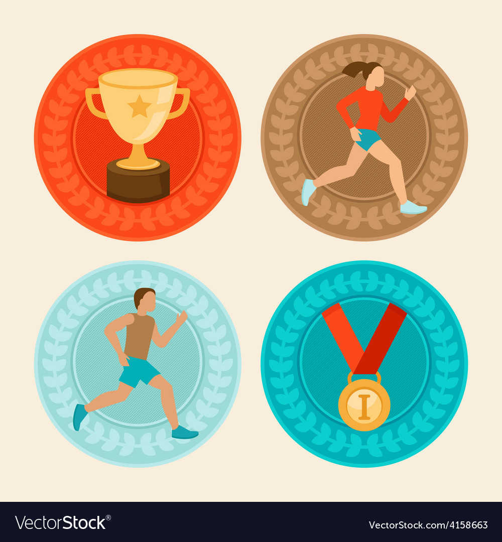 Achievement badges in flat style vector | Price: 1 Credit (USD $1)