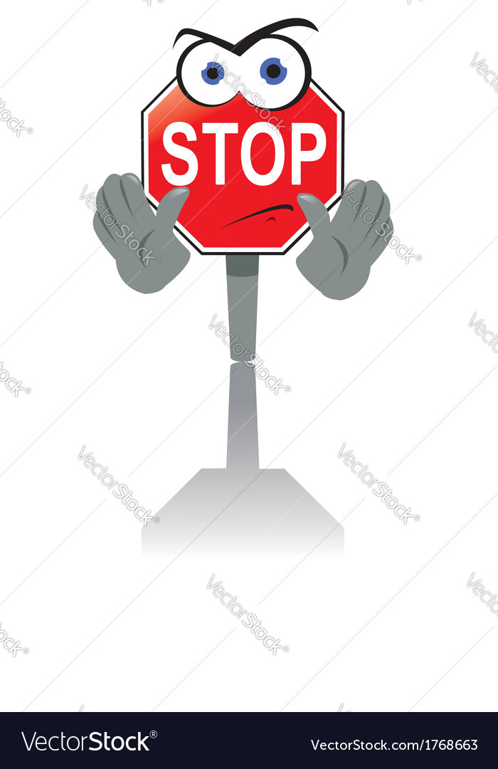 Angry stop sign vector | Price: 1 Credit (USD $1)
