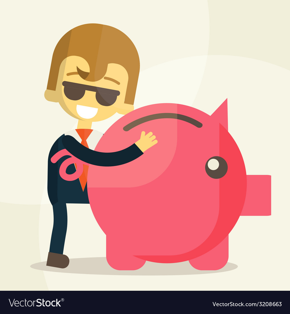 Business man save money vector | Price: 1 Credit (USD $1)