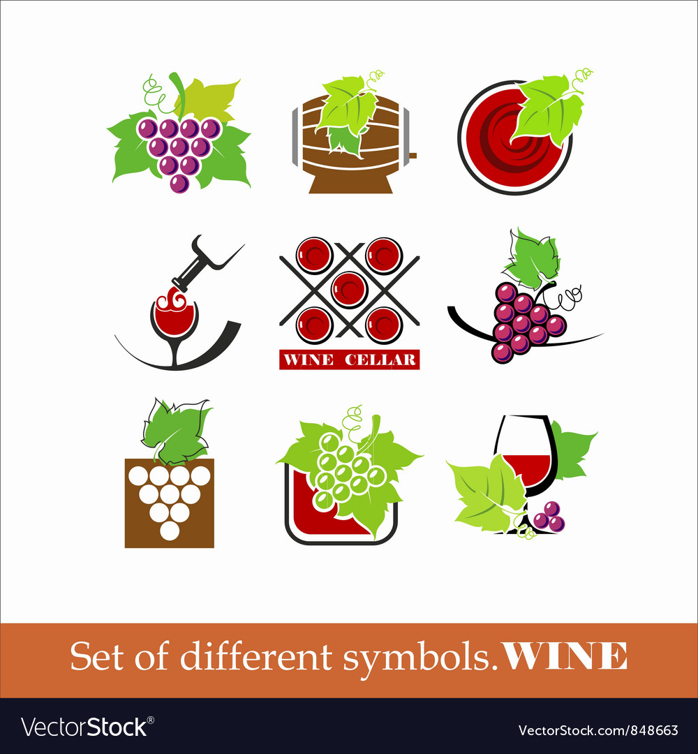 Collection of wine icons vector | Price: 1 Credit (USD $1)