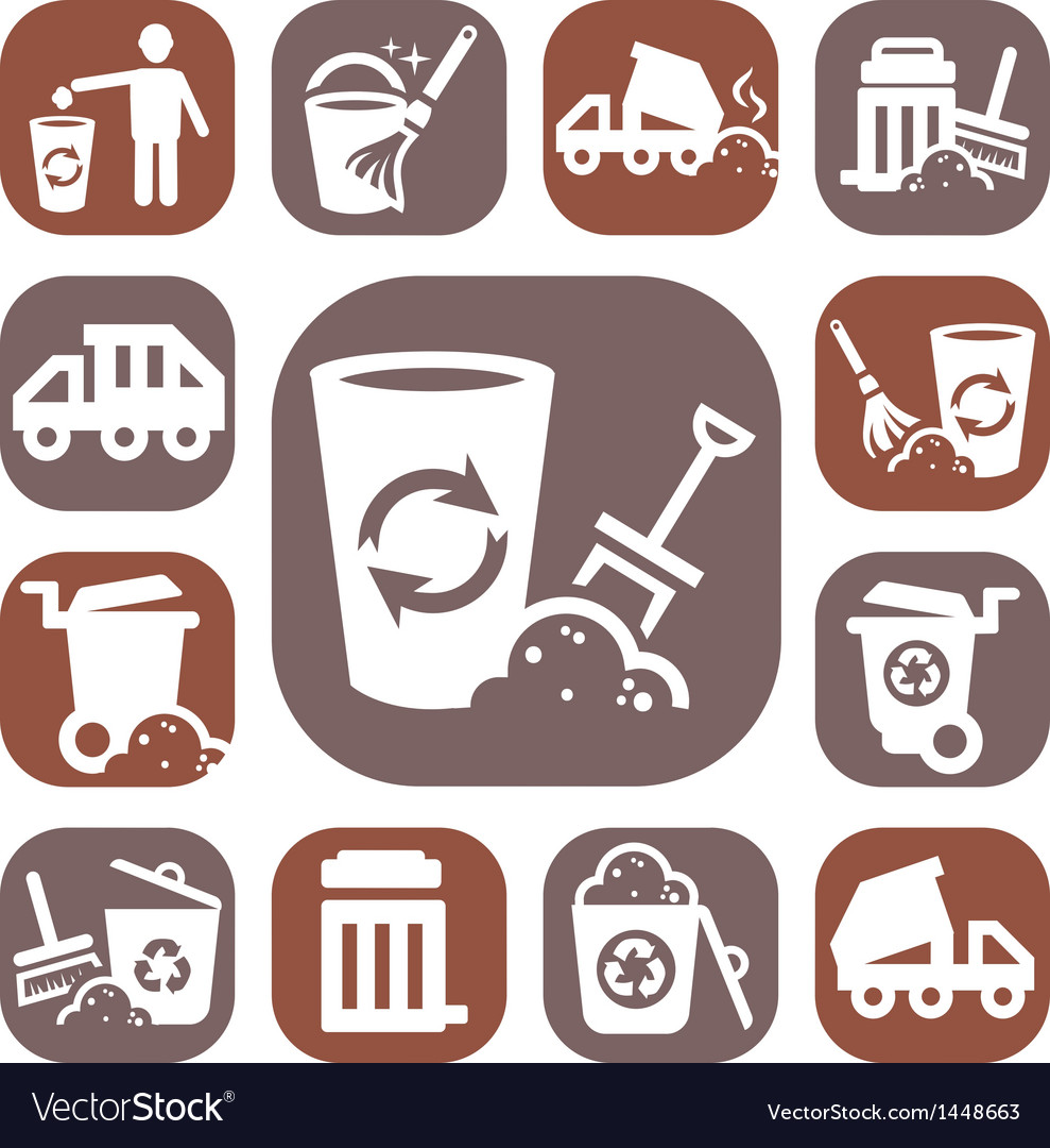 Color garbage icons vector | Price: 1 Credit (USD $1)