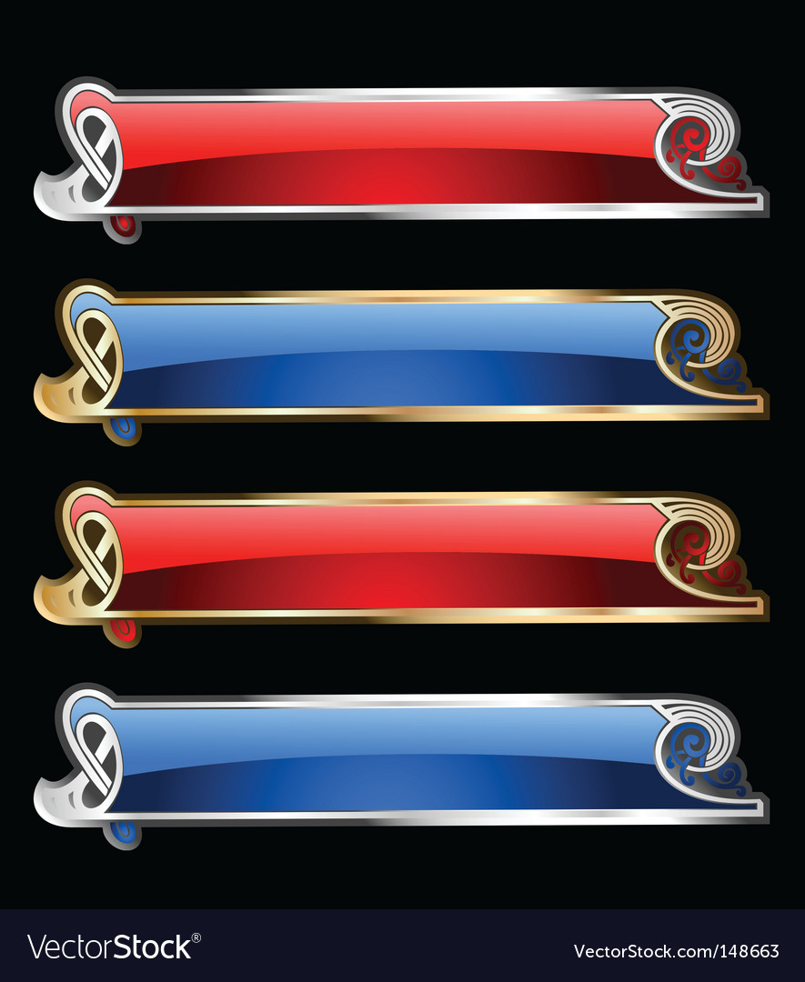 Gold and silver banners vector   Price: 1 Credit (USD $1)