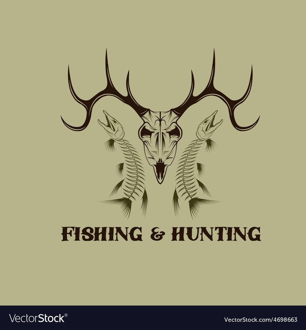 Hunting and fishing vintage emblem design template vector | Price: 1 Credit (USD $1)