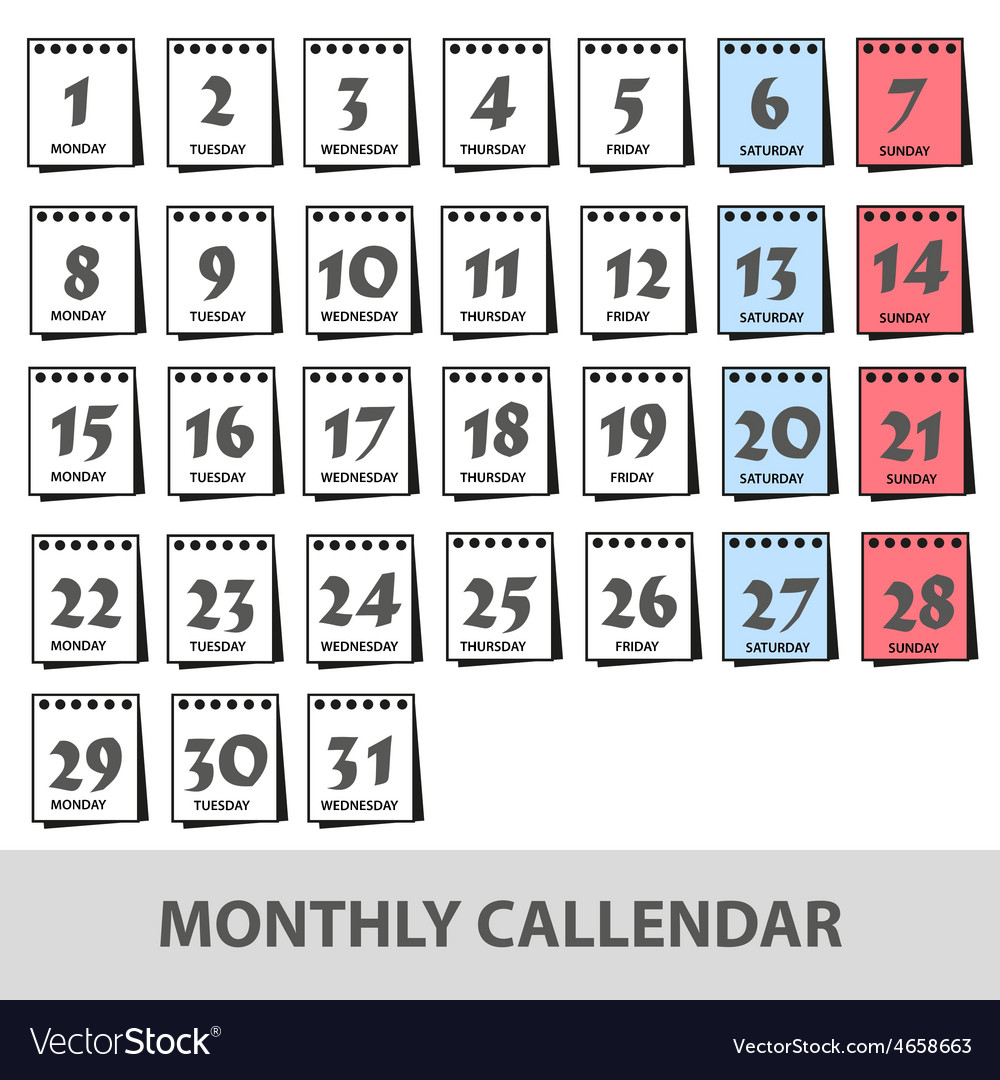 Monthly wall calendars with days icons set eps10 vector | Price: 1 Credit (USD $1)