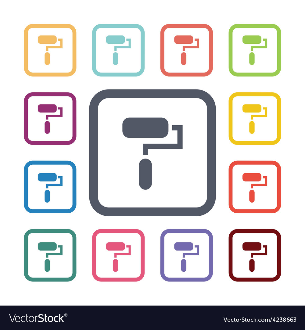 Paint roller flat icons set vector | Price: 1 Credit (USD $1)
