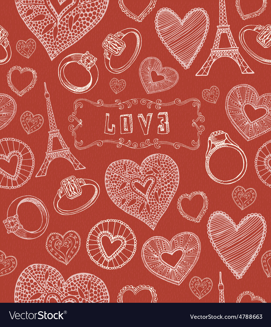 Seamless hearts pattern valentines day vector | Price: 1 Credit (USD $1)