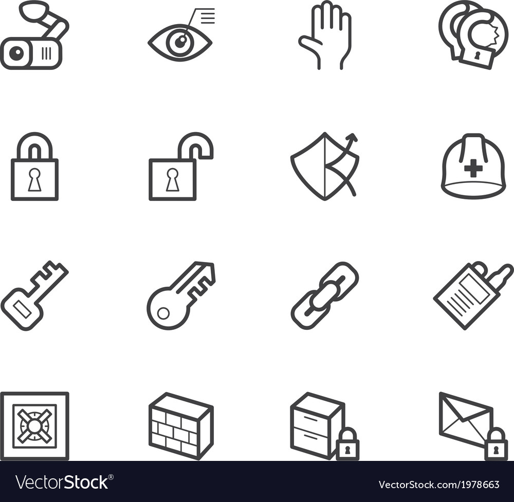 Security element icon set on white backgrou vector | Price: 1 Credit (USD $1)
