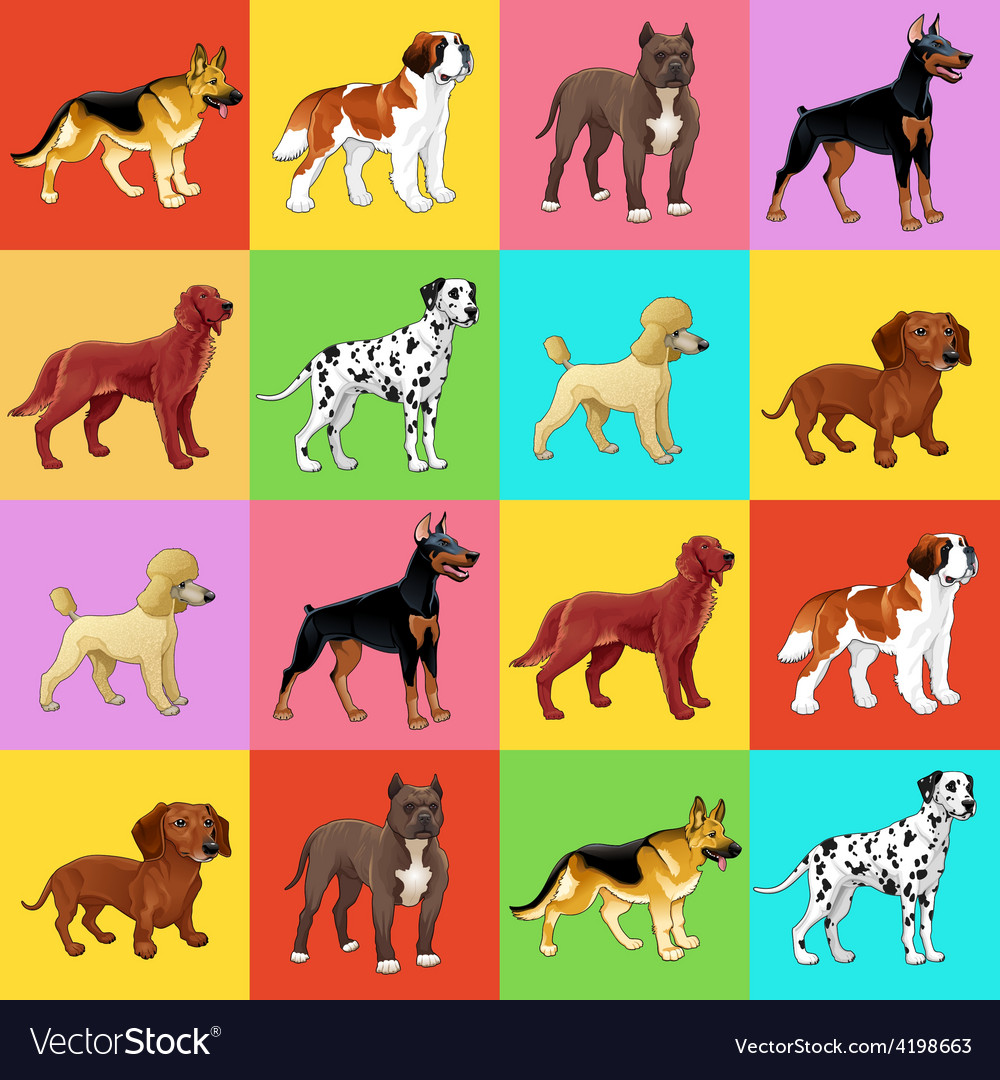 Set of dog with background vector | Price: 1 Credit (USD $1)