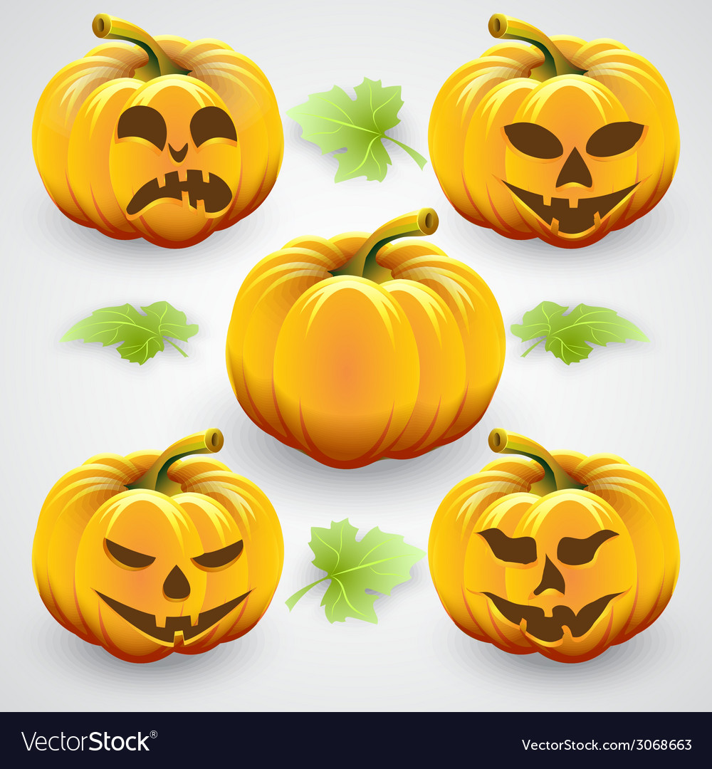 Set of orange halloween pumpkins and leaves vector | Price: 1 Credit (USD $1)