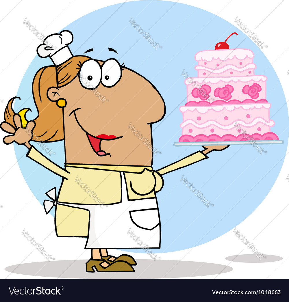 Tan cartoon cake maker woman vector | Price: 1 Credit (USD $1)