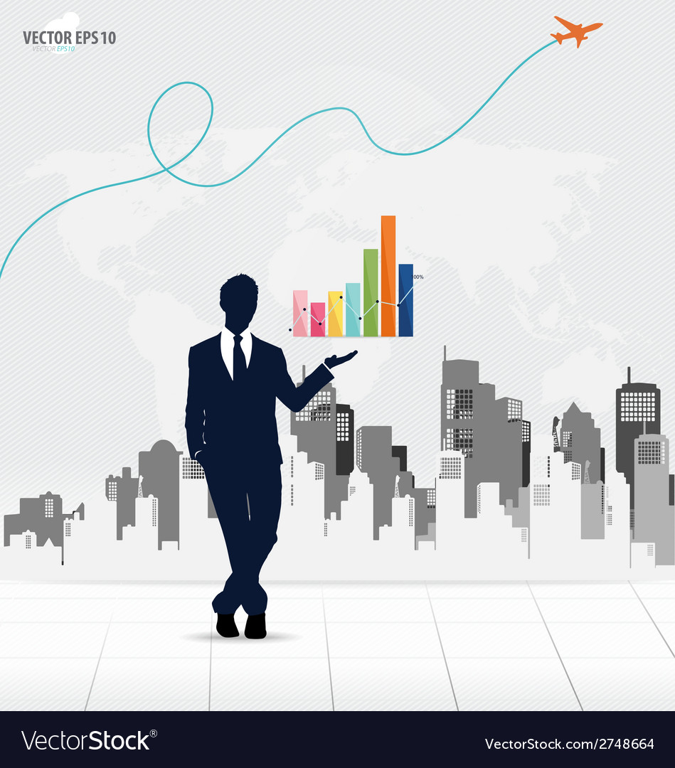 Businessman showing graph with building background vector | Price: 1 Credit (USD $1)