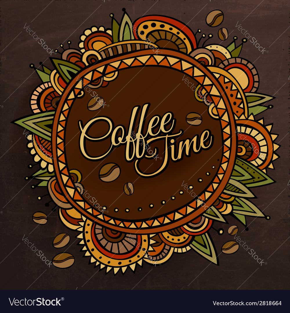 Coffee time decorative border label design vector | Price: 1 Credit (USD $1)