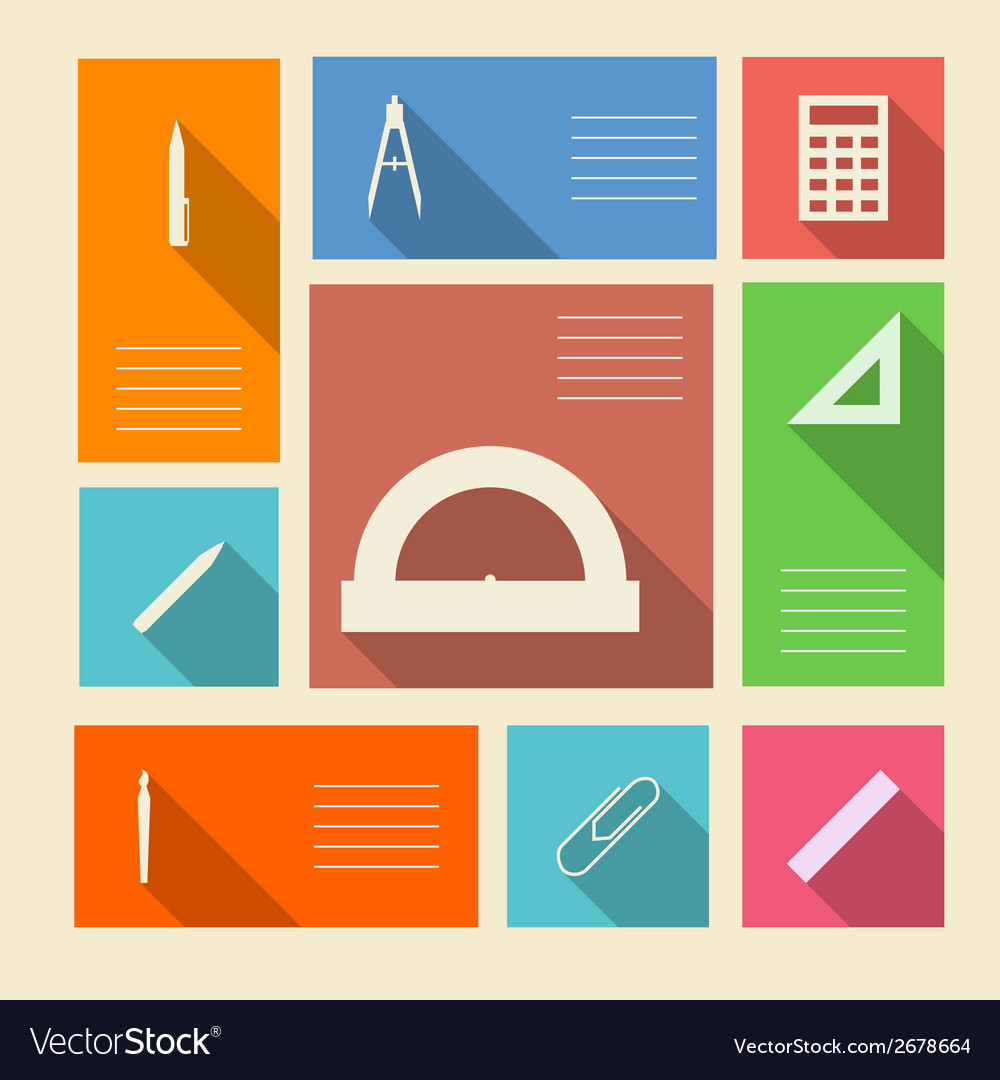 Colored icons for school supplies with place for vector | Price: 1 Credit (USD $1)
