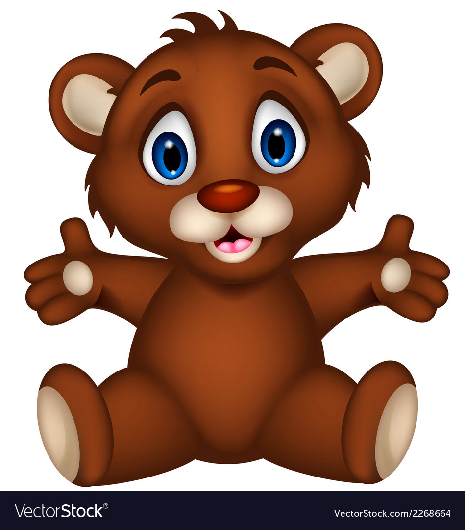 Cute baby brown bear cartoon sitting vector | Price: 1 Credit (USD $1)
