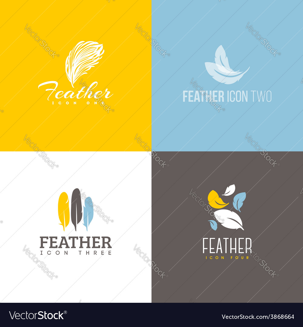 Feather icon set of logo design templates vector | Price: 1 Credit (USD $1)