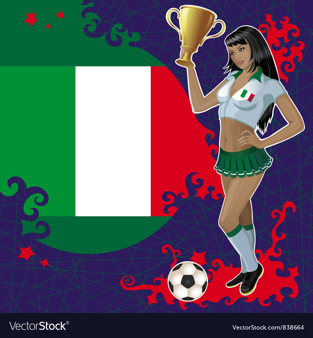 Football poster with girl and italian flag vector | Price: 3 Credit (USD $3)