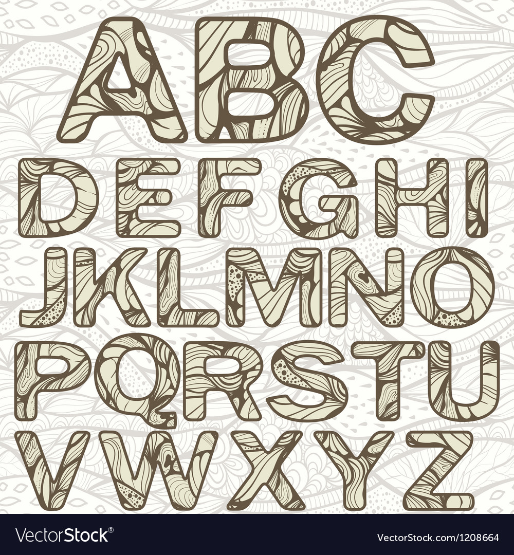 Funky latin alphabet vector | Price: 3 Credit (USD $3)