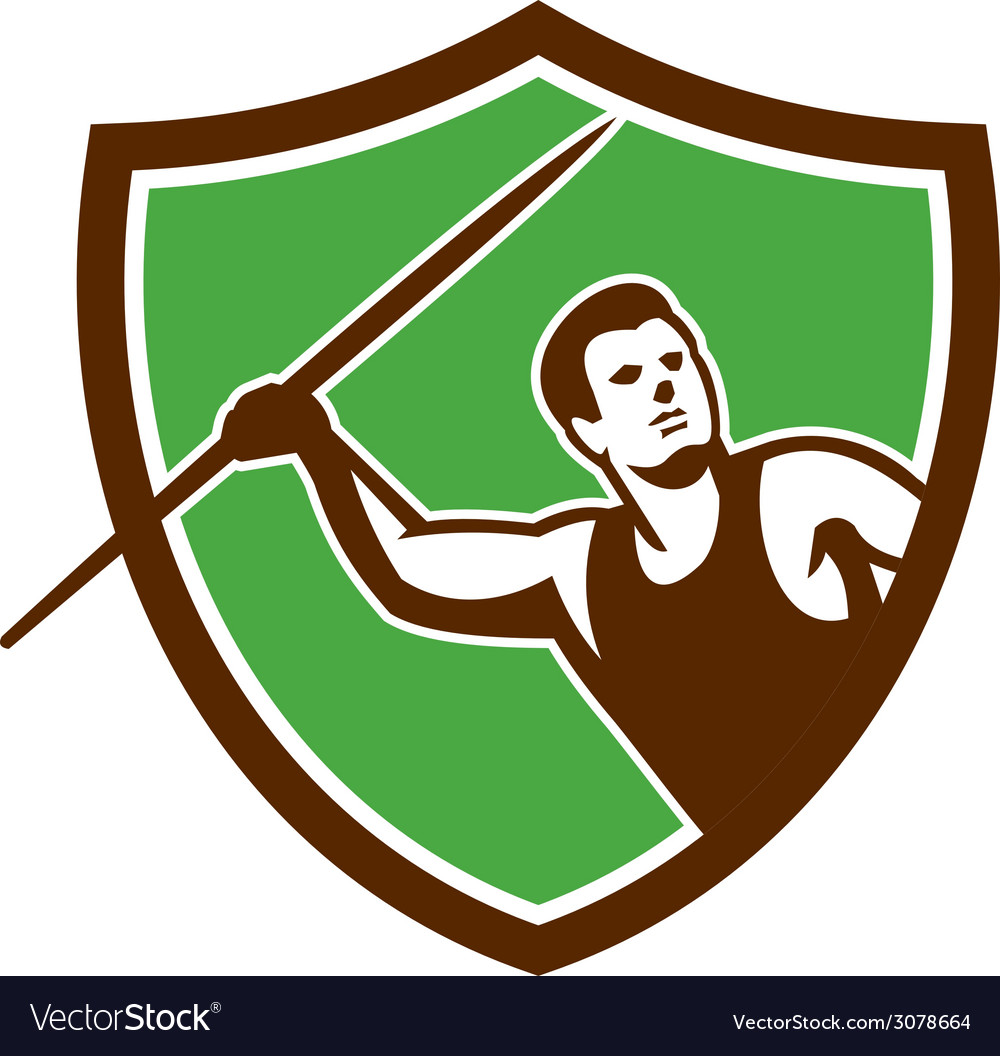 Javelin throw track and field athlete shield vector | Price: 1 Credit (USD $1)