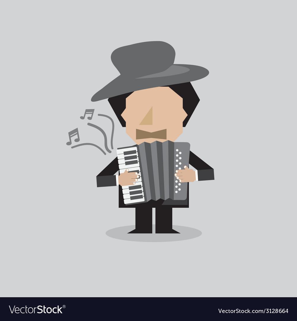 Musician accordion man vector | Price: 1 Credit (USD $1)