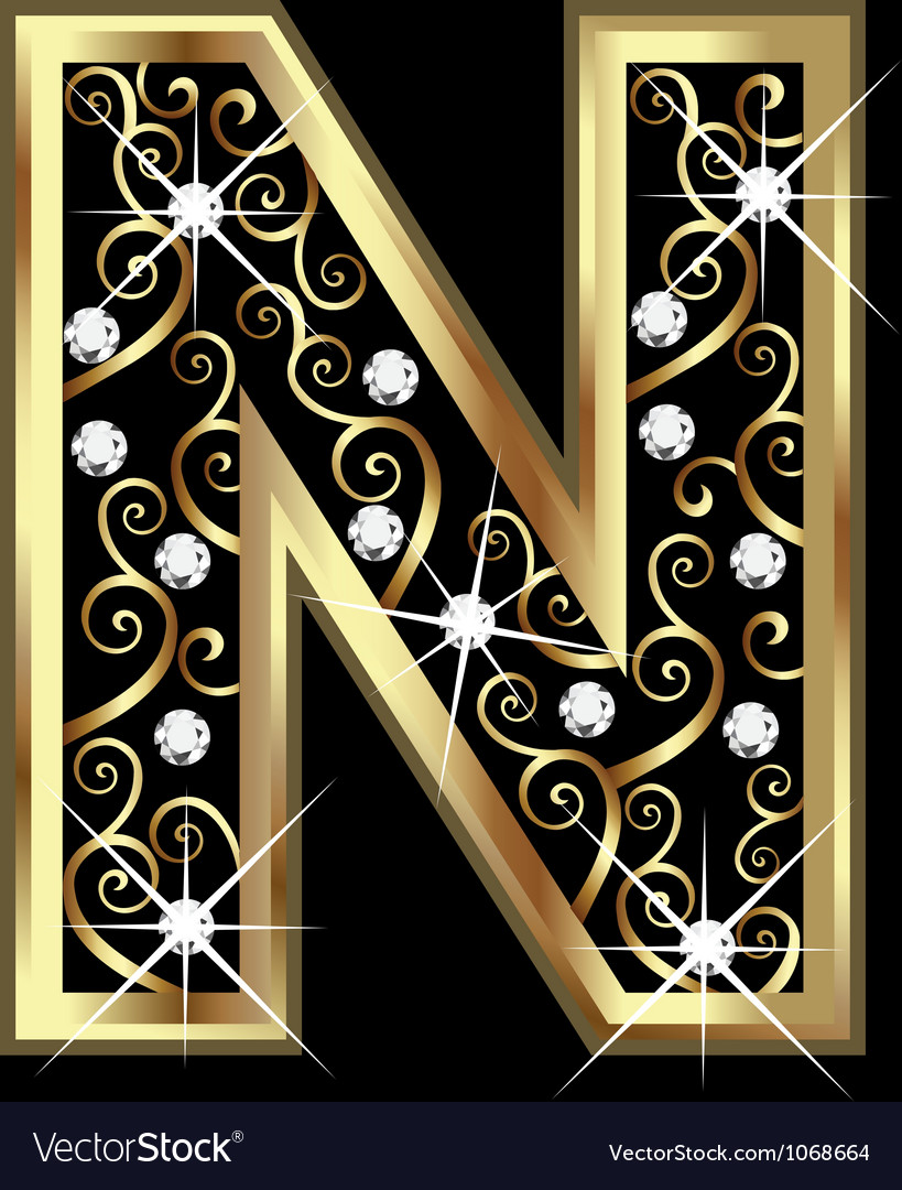 N gold letter with swirly ornaments vector | Price: 1 Credit (USD $1)