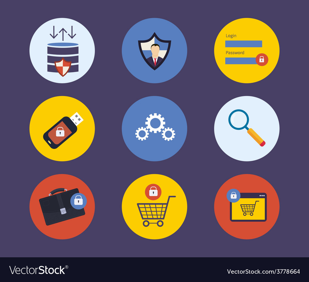 Set of flat design concept icons for technology vector | Price: 1 Credit (USD $1)