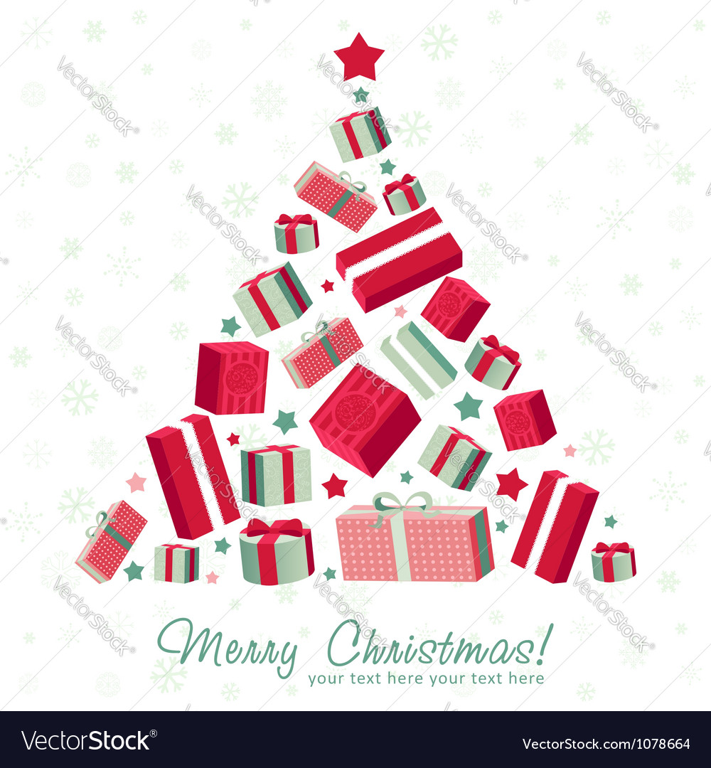 Shape christmas tree made of gift boxes vector | Price: 1 Credit (USD $1)