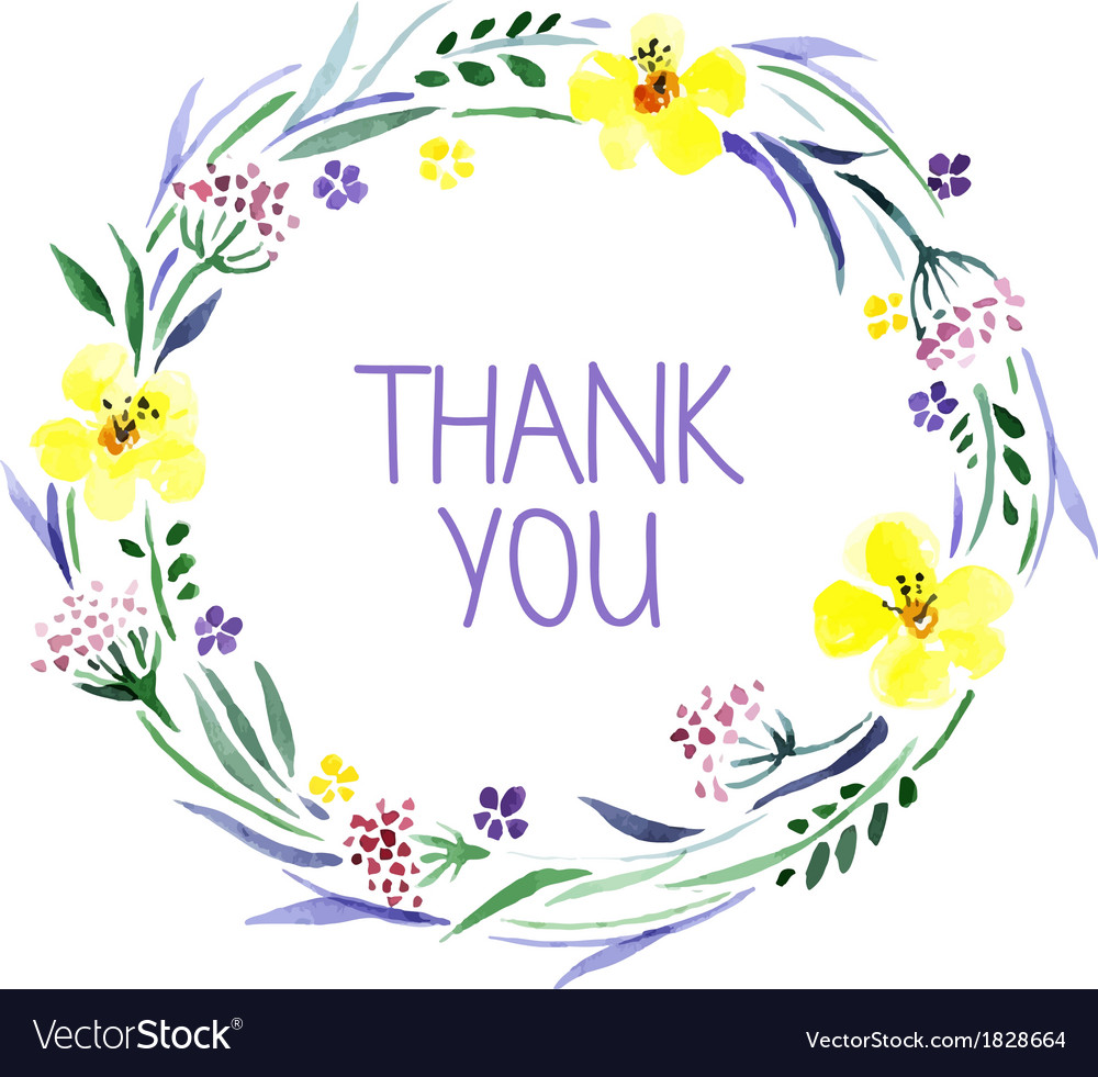 Thank you card with watercolor floral bouquet vector | Price: 1 Credit (USD $1)