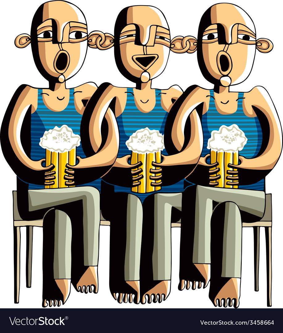 Three drinking hairless men sitting on a wooden vector | Price: 1 Credit (USD $1)