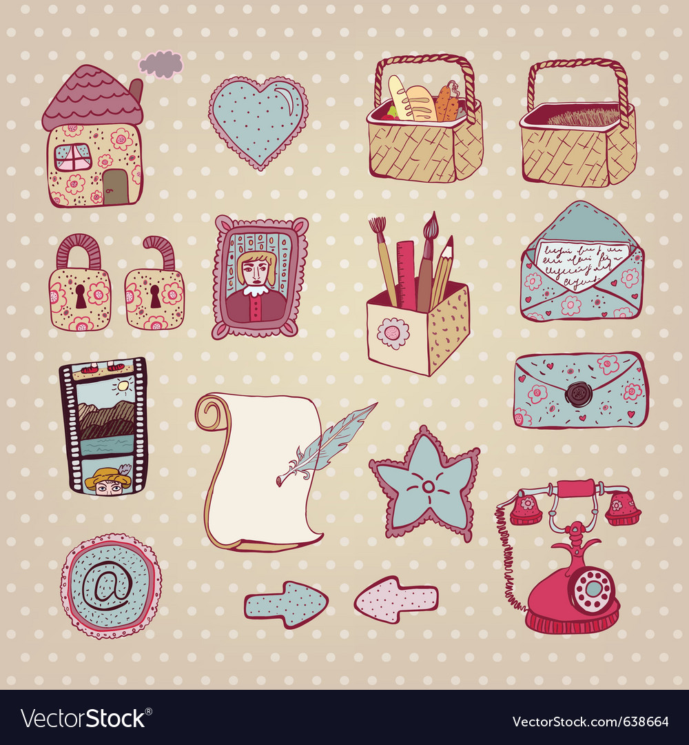 Vintage drawn objects vector | Price: 1 Credit (USD $1)