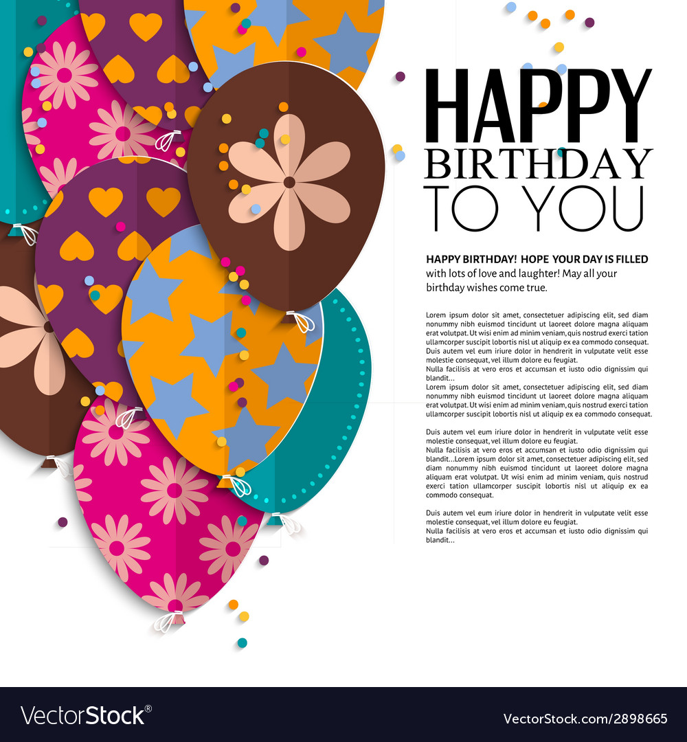 Birthday card with paper balloons and text vector | Price: 1 Credit (USD $1)
