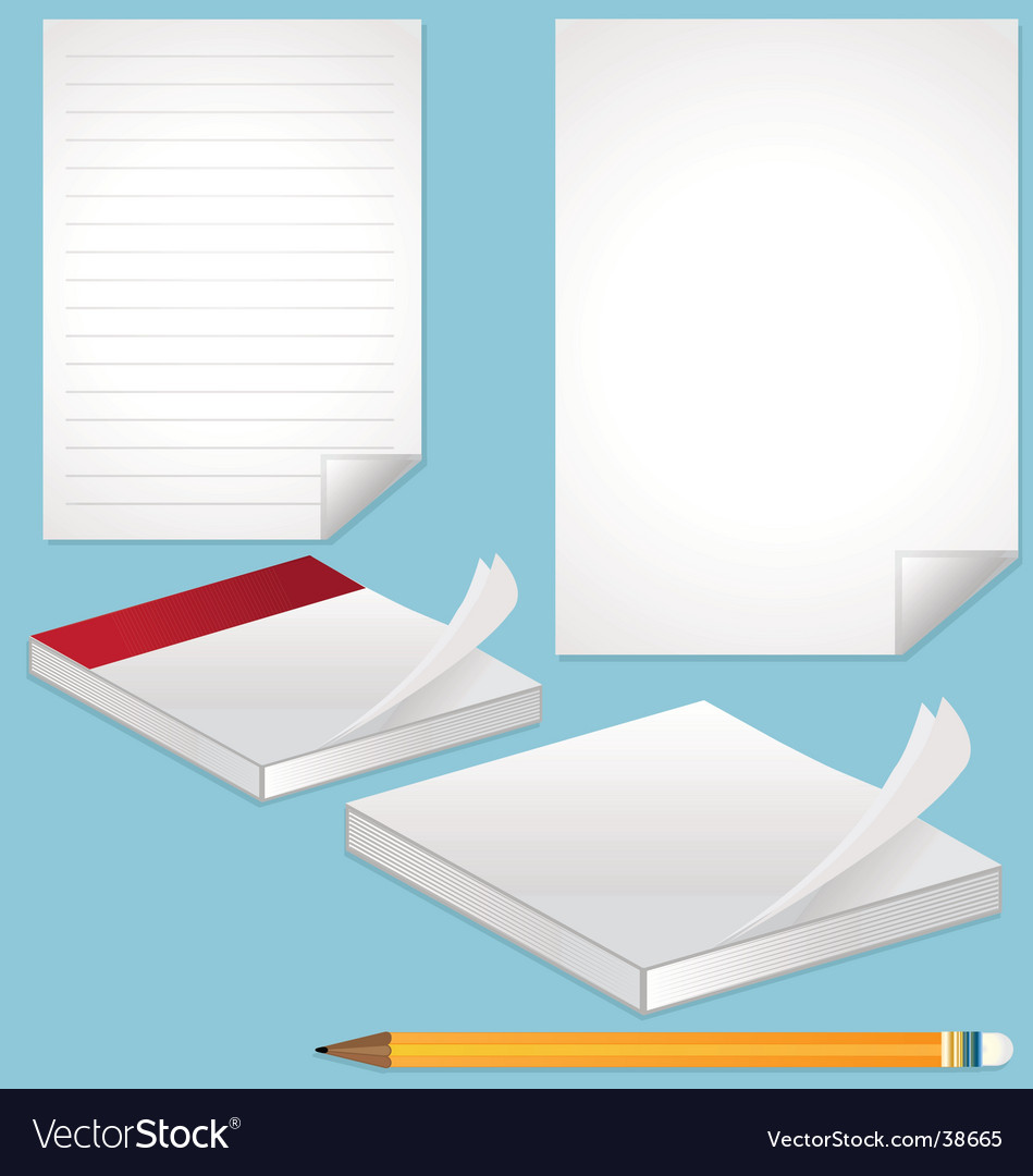 Blank pages note and pencil vector | Price: 1 Credit (USD $1)