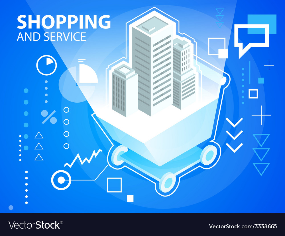 Bright shopping trolley and buildings on blu vector | Price: 3 Credit (USD $3)
