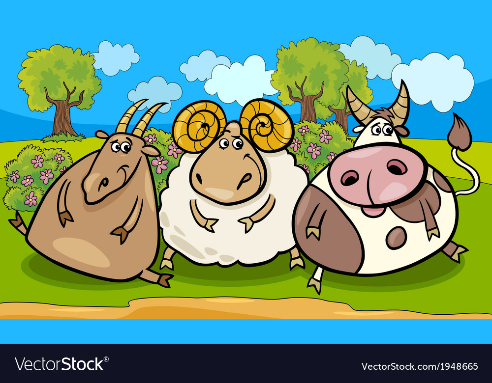 Farm animals group cartoon vector | Price: 1 Credit (USD $1)