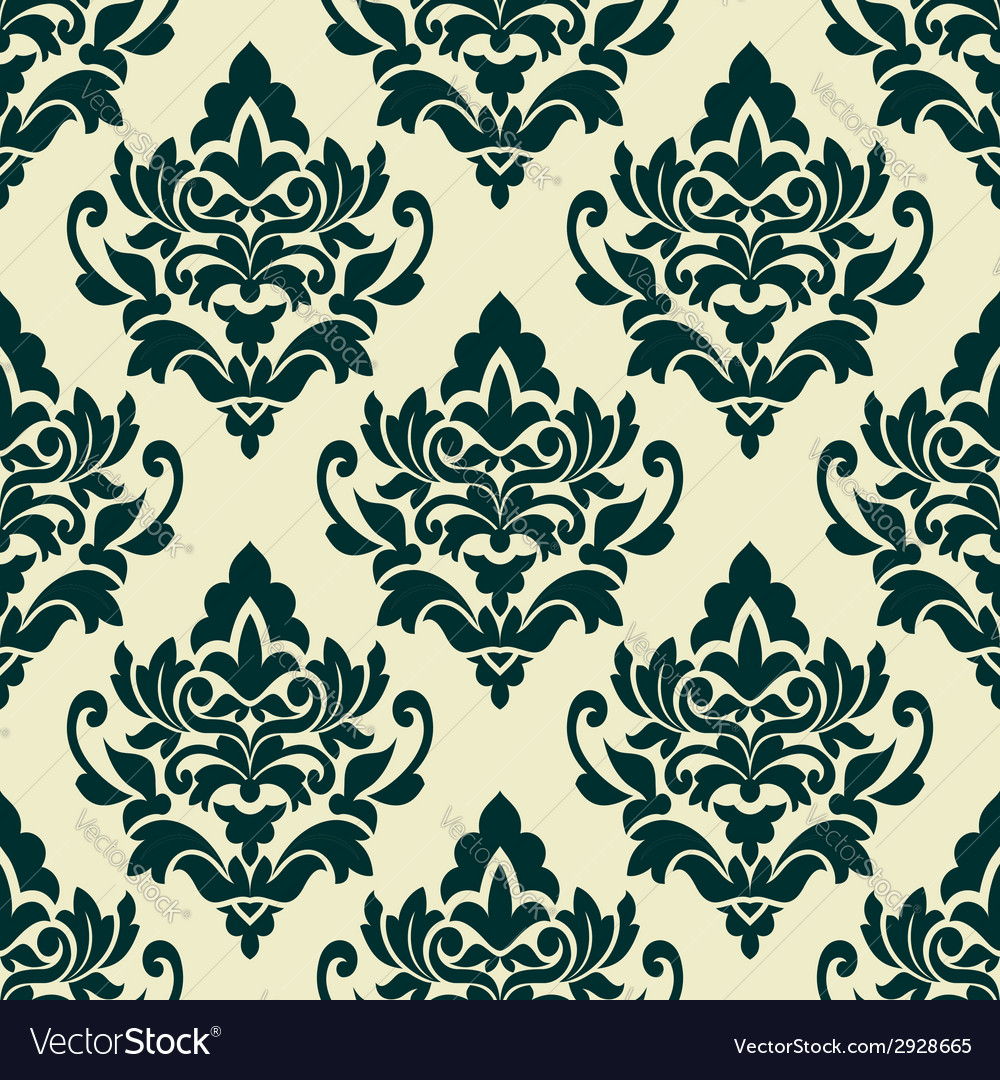 Floral green damask seamless pattern vector | Price: 1 Credit (USD $1)