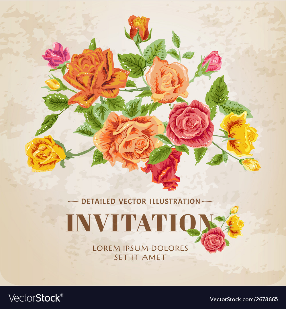 Floral roses vintage card vector | Price: 1 Credit (USD $1)