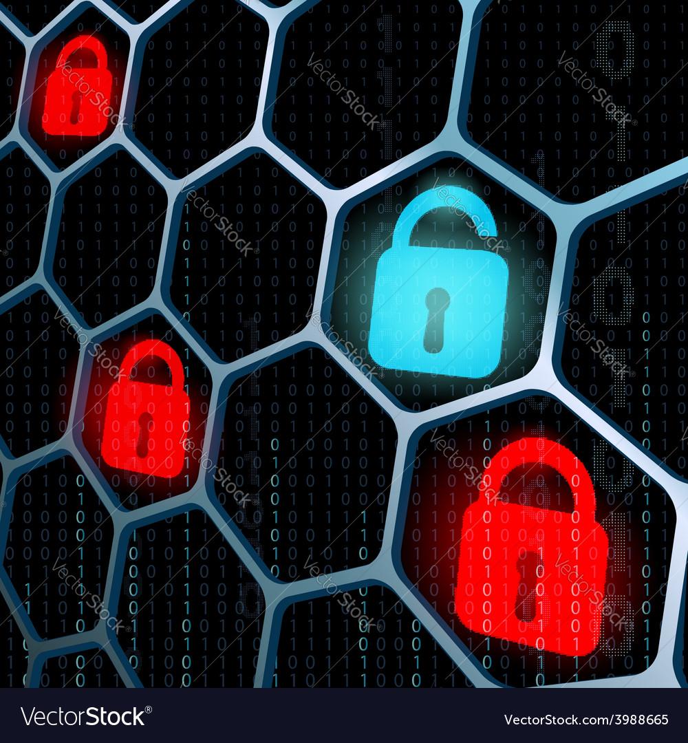 Glowing locks security vector   Price: 1 Credit (USD $1)