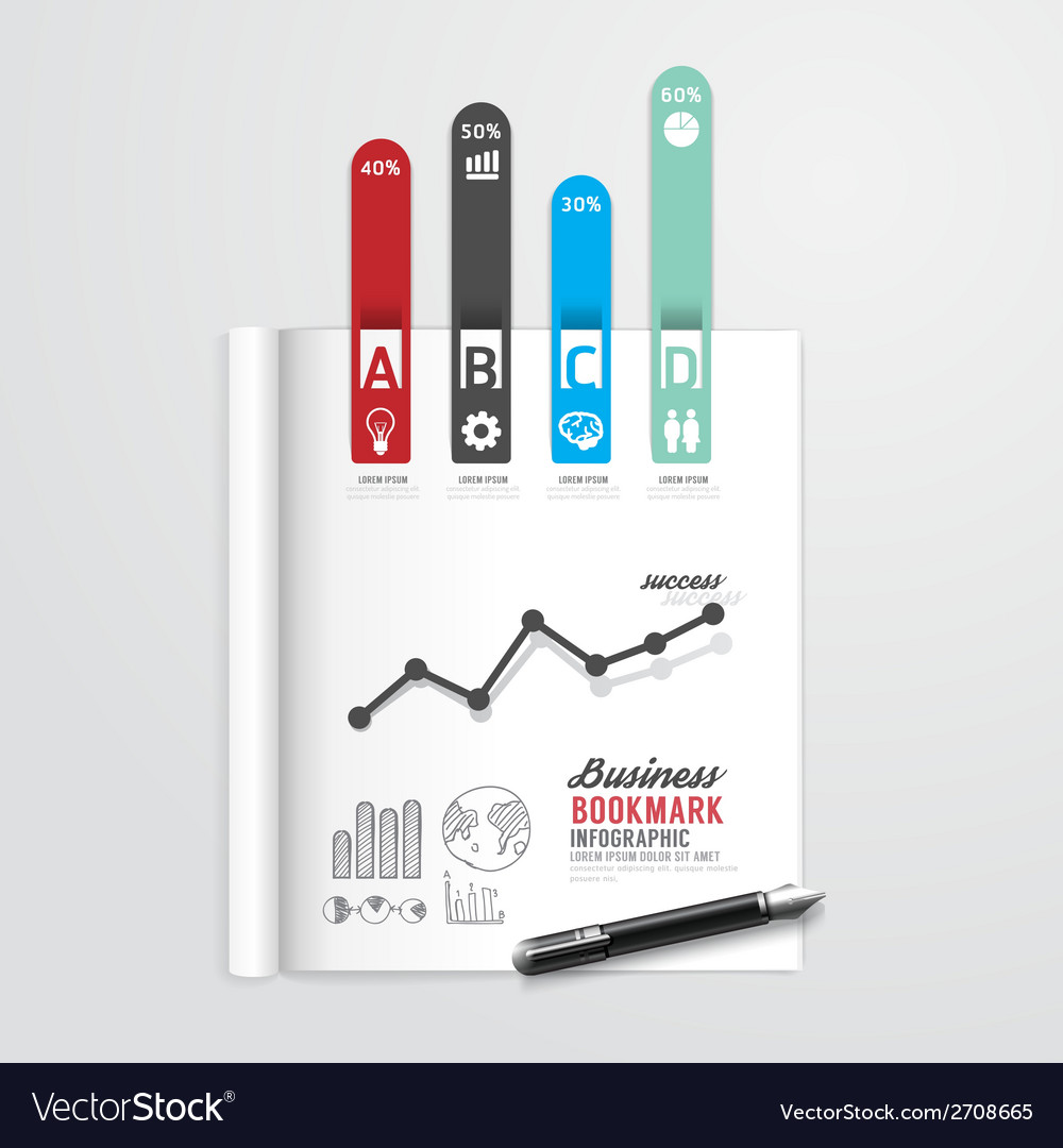 Infographic book open with bookmark arrow vector | Price: 1 Credit (USD $1)