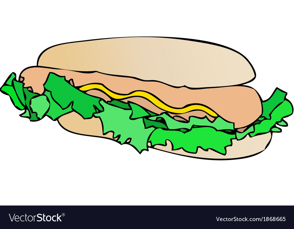 Sandwich with sausage and mayonnaise vector | Price: 1 Credit (USD $1)