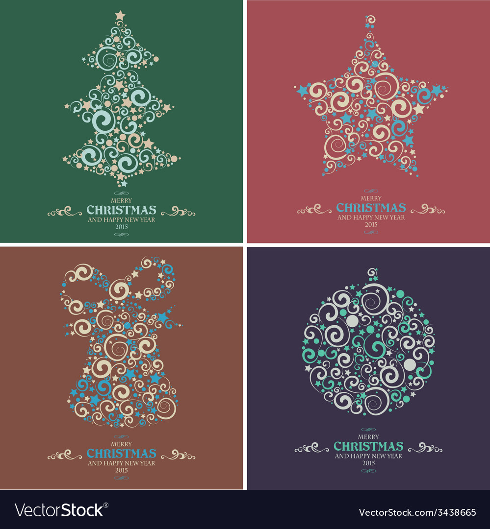 Set of decorative christmas elements vector | Price: 1 Credit (USD $1)